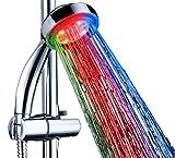 Duschkopf LED Handbrause mit Licht 7 Farben | Bunte Farbwechsel | Starke Wasserturbine | Dschbrause Brausekopf Dusche