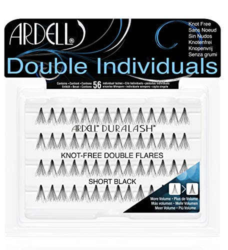 ARDELL Double Individuals Short (Knot Free) black, 1er Pack (1 x 56 Stück) Eye-lashes Einzelwimpern (ohne Kleber). wiederverwendbare natürlich schwarze künstliche Echthaar Wimpern