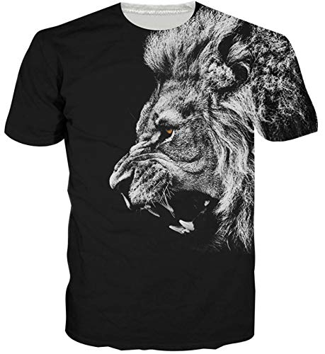 Funny Black Lion Printed T Shirts Summer Personalized Round Neck 3D Tshirt Tee Tops for Mens Womens XL