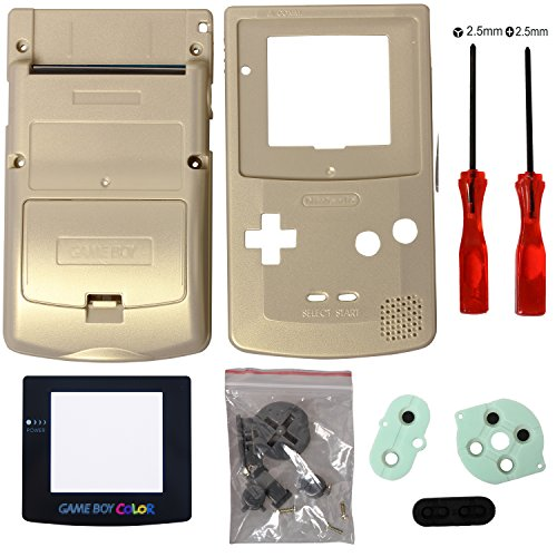 Timorn Completo Vivienda Shell Case Cover Reemplazo para GBC Gameboy Color (Oro)