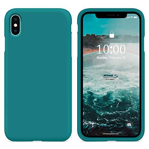 SURPHY Cover Compatibile con iPhone XS Max,Custodia per iPhone XS Max Silicone Cover Antiurto con Fodera in Microfibra, Anti Graffio Cover Case per iPhone XS Max 6.5 Pollici (2018), Teal Blue
