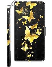TYWZ Compatibel met Samsung Galaxy A51 Case Cover,Opvouwbare Stand PU lederen portemonnee schokbestendige beschermende bumper met kaartsleuven magnetische gouden vlinder