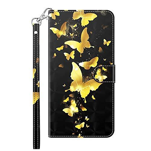 TYWZ Custodia Flip per Samsung Galaxy Note 20 Ultra Cover,Portafoglio Case in PU Pelle con Slot per Schede Cinturino da Polso Chiusura Magnetica-Oro Farfalla