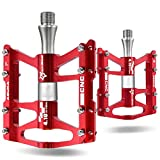 ROCKBROS Advanced 4 Bearings Mountain Bike Pedals Platform Bicycle Flat Alloy Pedals 9/16' Red