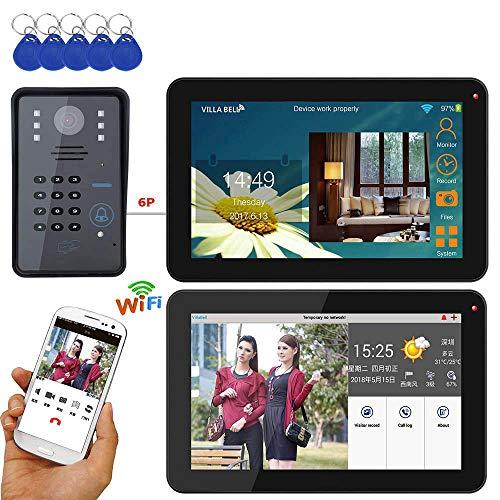 YUEC Timbre de Video, 9'2 Pantallas Cableadas/inalámbricas WiFi RFID contraseña videoportero teléfono de Puerta Sistema de intercomunicación + cámara infrarroja HD 1000TVL,A