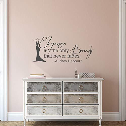"""Wandtattoo mit Zitat \""""Elegance Is The Only Beauty That Never Fades\"""" von Audrey Hepburn, inspirierendes Zitat für Mädchenzimmer, Schlafzimmer, 33 x 71 cm"""