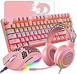 Juego de ratón 4 en 1 con teclado de juego rosa, 87 teclas, teclado mecánico arco iris, RGB 6400 DPI ligero rosa para juegos con carcasa de panal, 3,5 mm para ordenador portátil