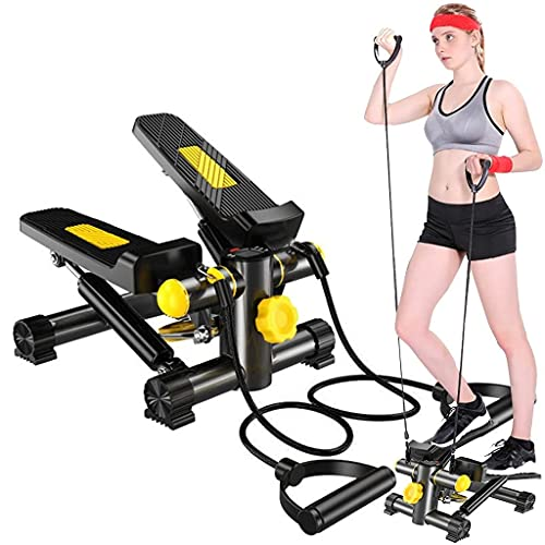 Mini Stepper for Exercises, Eazylife Leg Foot Pedal Exerciser, Step Machine, Stair Twist Stepper, Workout Fitness Equipment with Resistance Bands and LCD Monitor for Home Gym Office
