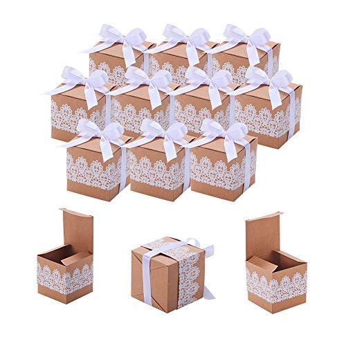 nbeads de Carton Boîte de Cadeau en Papier Kraft, Dentelle Fête de Mariage Boîtes À Dragées pour Dragées, Bonbons, Confettis, Ou de Petits Cadeaux, 5 × 5 × 5 cm, Papier, Marron, 40 Sets