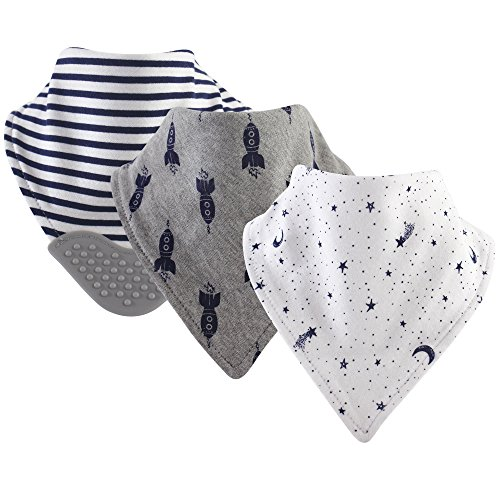 Yoga Sprout Baby Boy and Girl Bandana Bib with Teether, 3-Pack - Moon