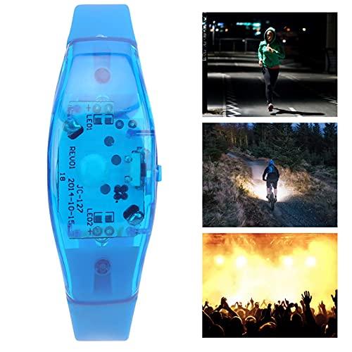 Pulsera LED ajustable, pulsera de plástico intermitente para carrera nocturna para fiestas para conciertos musicales(blue)