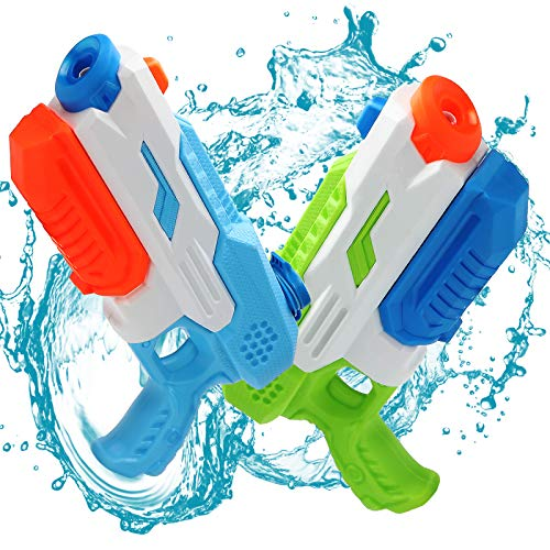 Tuptoel Water Guns, 2 Pack 600cc Water Guns for Kids Adults Long Range Squirt Guns, Large Capacity Sumer Water Pool Toys Water Blasters Beach Sand Toys Party Favor