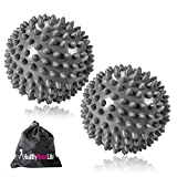 Two Pack Premium Grade Spiky Massage Ball - Highly Recommended for Plantar Fasciitis, Muscle Soreness & Pain Relief - Deep Tissue Rehab Reflexology & Acupressure Portable Roller Ball Silver
