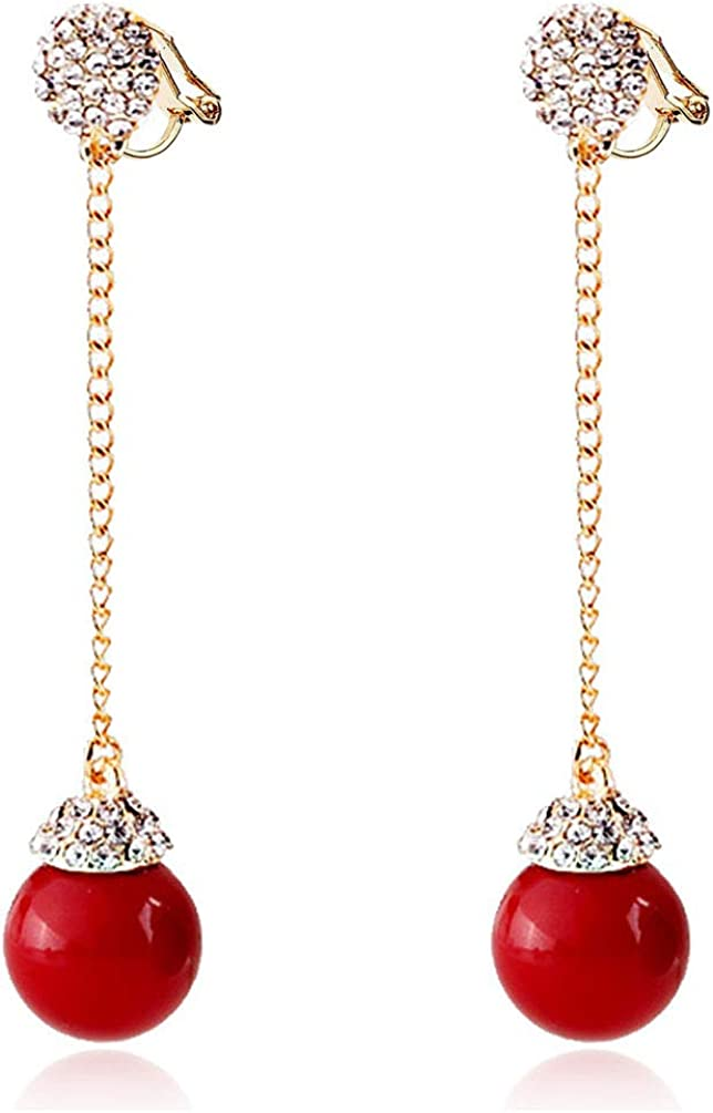 Clip on Dangling Earrings Beaded Tassels Drop Rhinestone Crystal Women Girls No Pierced Simple Dangle