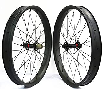 JIMAITEAM 26er Fat Bike Wheelset 65mm Wide Carbon Clincher Tubeless Rim 32 Holes with Novatec D201SB/D202SB Hubs Pillar PSR aero 1423 Spokes 15×150mm/12×190mm