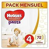 Huggies, Culottes absorbantes bébé Taille 4 (9-14 kg), 72 culottes, Unisexe, Avec indicateur...