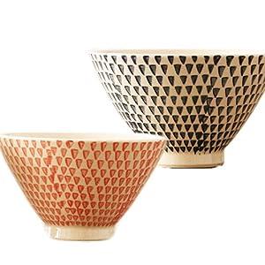 波佐見焼 勲山窯 茶碗 カラーカンナ 大小 ペア セット ギフトBOX入   夫婦碗 茶わん 飯碗 (赤×青)