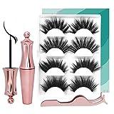 4 Pairs Magnetic Eyelashes, Set With 4 Magnetic Lashes Magnet Liquid Eyeliner Tweezers Natural Handmade False Eyelash (CRIS MagneticSet 25m)