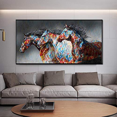 Pintura arte pared Carteles de pintura al óleo de pared pintura en lienzo de caballo corriendo cuadro artístico de pared cuadros de lienzo de animales salvajes decoración para sala de estar-60