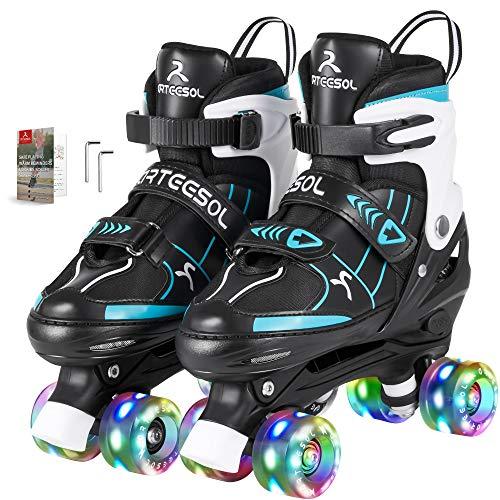 arteesol Rollschuhe Verstellbare Quad Roller Skates mit Leuchtenden Rädern Bequem und Atmungsaktiv Zweireihige Rollschuhe Unisex 4 Größe für Kinder Anfänger Mädchen und Jungen