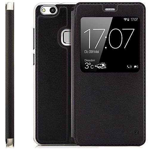 Zanasta Designs Custodia Compatibile con Huawei P10 Lite (WAS-LX1A) Cover Flip Wallet Case Copertura con Finestra Vista, Protezione della Fotocamera |Nero