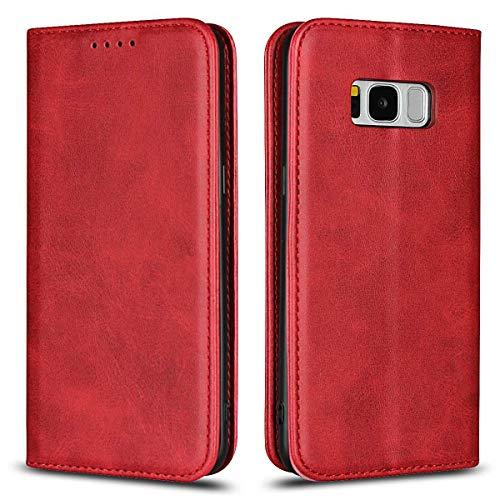 Coque Galaxy S8, SONWO Premium PU Cuir Rabat Portefeuille de Protection Coque avec Fonction Support et Fente pour Carte pour Samsung Galaxy S8, Rouge