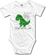 T Rex Dinosaurs If You're Happy & You Know It Cute Baby Onesie Bodysuit