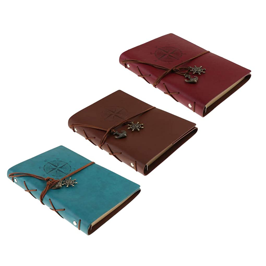 F Fityle 旅行ノート バインダーノート A5ノート 学習ノート 旅行メモ クラフト紙 空白 80枚 3冊