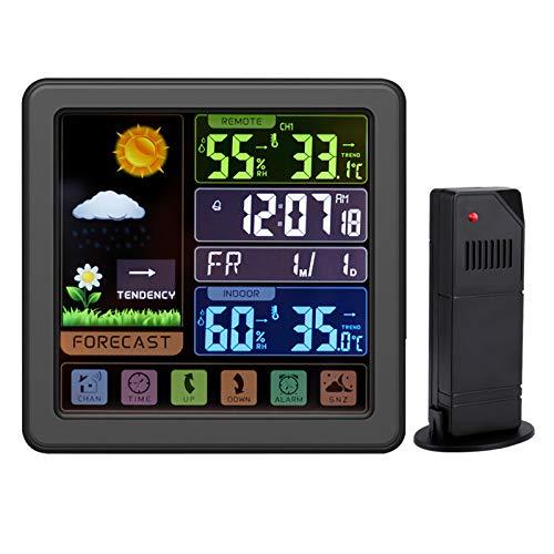 BORIYUAN Wetterstation mit Außensensor, 6-IN-1 Funk Wetterstation mit Digital Thermometer, Wettervorhersage innen und Außen, Kalander, Zeitanzeige, Wecker für Wohnzimmer, Büro oder Garten