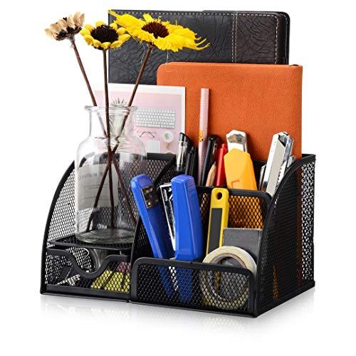 Tocawe Schreibtisch Organizer, Mehrzweckgitter Büro Organizer/Stifthalter-Mit Schublade für Büro, Schule und Haushalt(Schwarz)