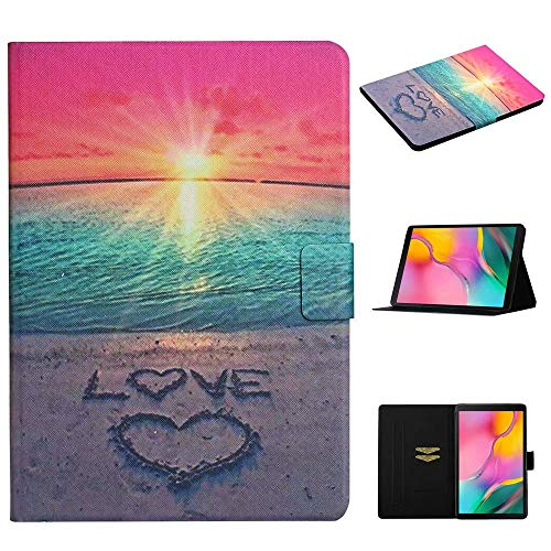WVYMX Galaxy Tab A 10.1 T580 Wallet Case, Printed Serise Slim Fit Folio Stand Leather Smart Cover for Samsung Galaxy Tab A 10.1 SM-T580 T585 T587 2016 Sunshine