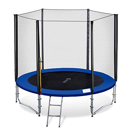 Exacme 8 Foot Outdoor Round Trampoline with Enclosure for Kids High...