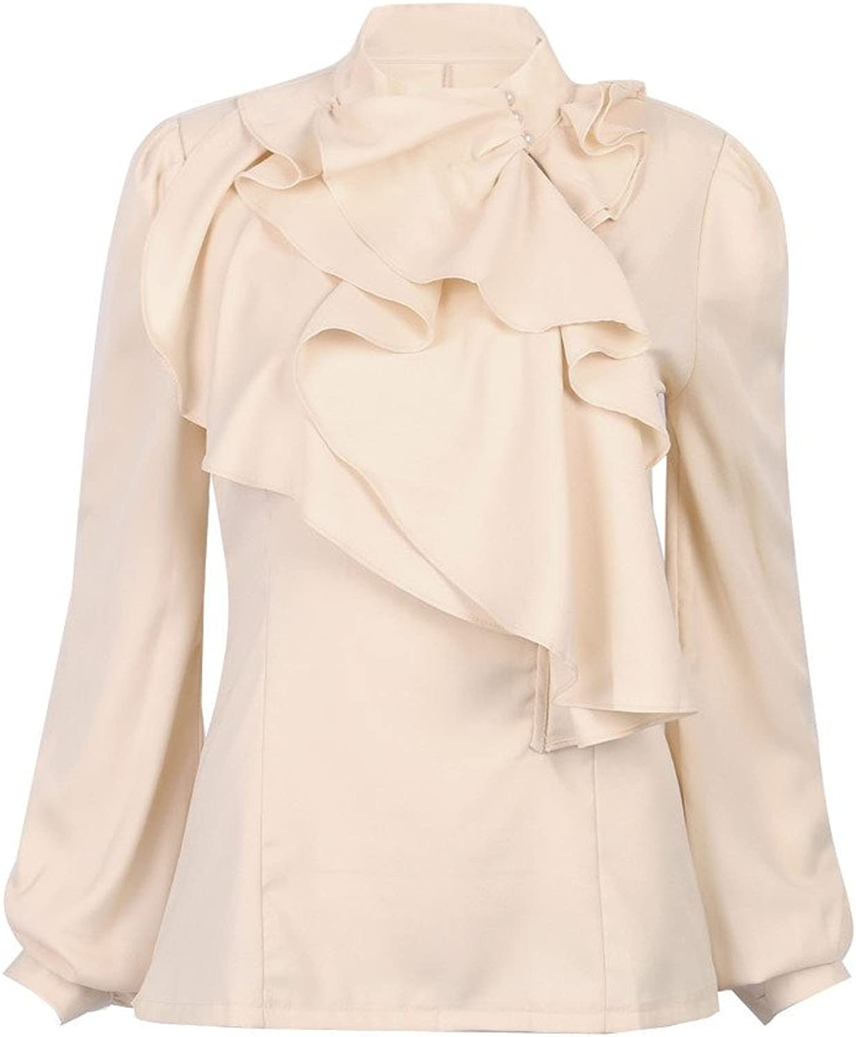 CHARLES RICHARDS CR Women's Beige High Neck Long Sleeve Ruffle Front Loose Blouse Top