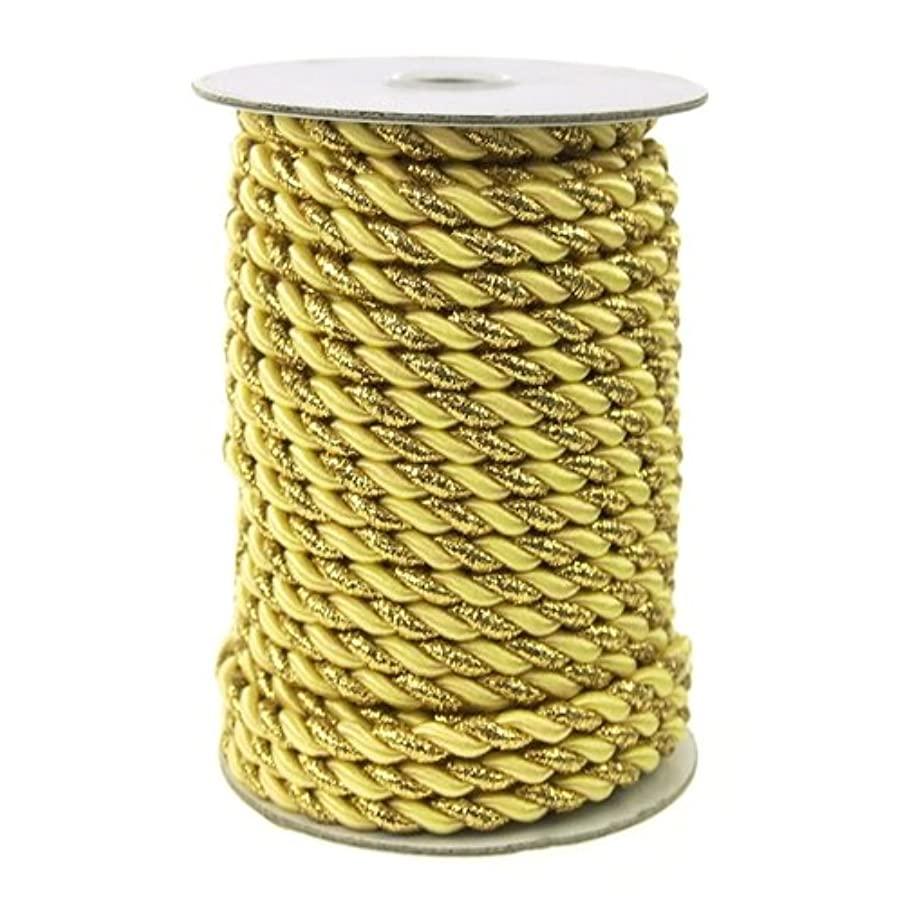 Homeford Firefly Imports Twisted Cord Rope 2-Ply, 6mm, 25 Yards, Gold Trim, Yellow,
