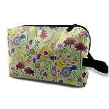Bolsa de cosméticos para el bolso, Estampado de flores pictórico en Light Green_1449, Tela de Oxford, Bolso colorido, Mini viaje