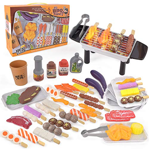HNZZN Toy Food for Kids Kitchen Set 61 PCS BBQ Grill Playset Role Play Toys Vegetables Food Cooking Play Food for 3+ Years Old Toddlers Girls Boys