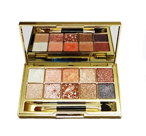 Glitter Eyeshadow Palette Leopard,10 Colors Sparkle Shimmer Matte Eye Shadow Highly Pigmented Long Lasting Makeup Set Gold (Type 3)