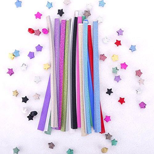 80x Milopon Origamipapier Origami Sterne Papierstreifen Handwerk Papier 24.5x1cm 7 Farbe