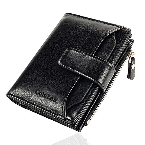 Mens Wallet Genuine Leather RFID Blocking Wallet Mens Credit Card Holder Bifold Wallet with Zip Coin Pocket for Men with Gift Box Black