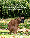 2021 - 2022 18 Month Weekly and Monthly Planner July 2021 to December 2022: Boxer Dog Pooping - Monthly Calendar with U.S./UK/ ... 8 x 10 in.- Gag Gift -Puppies Animal Nature