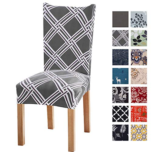 Printed Dining Chair Slipcovers, Removable Washable Soft Spandex Stretch Chair Covers Banquet Chair Seat Protector Slipcover for Kitchen Home Hotel (Set of 6, Grey Geometric)