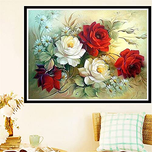 Diamond Painting Kits Full Drill Peony Flowers,DIY 5D Diamond Painting by Numbers Kits Crystal Large Embroidery Cross Stitch Art Crafts for Living Bedroom Wall Decor Round Drill,50x70cm(20x28in)