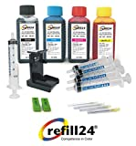 Kit de Recarga para Cartuchos de Tinta HP 301, 301 XL Negro y Color, Incluye Clip y Accesorios + 400 ML Tinta