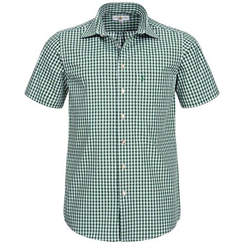 Almsach Herren Trachten-Mode Kurzarm Trachtenhemd in Dunkelgrün traditionell, Größe:M, Farbe:Dunkelgrün