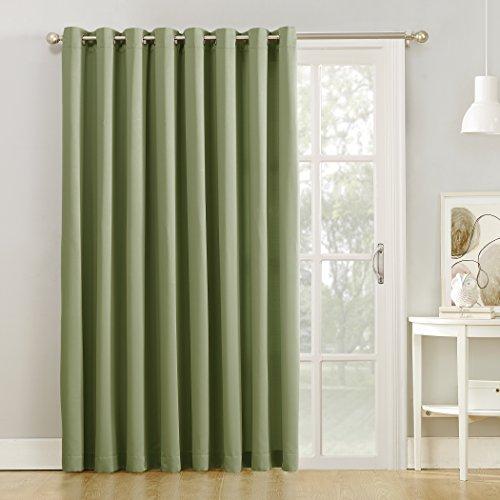"""Sun Zero Barrow Extra-Wide Energy Efficient Sliding Patio Door Curtain Panel, 100"""" x 84"""" Door, Sage Green"""