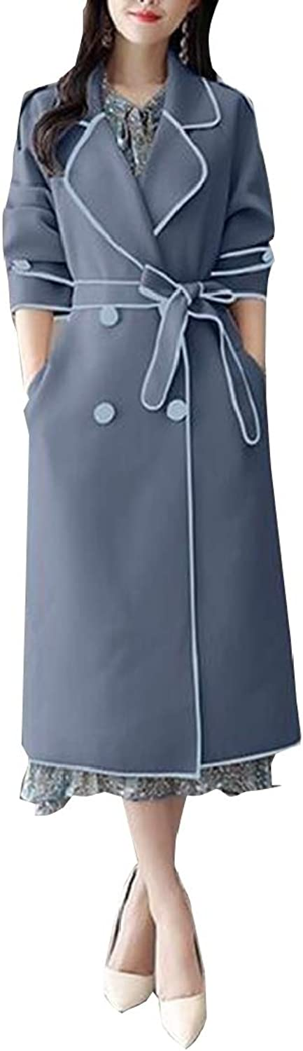Gocgt Womens Fashion Long Sleeve Double Breasted Trench Coat