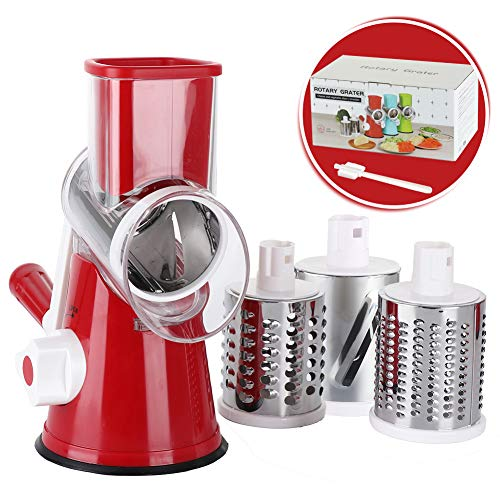Cambom Rotary Cheese Grater Shredder Chopper Round Tumbling Box Mandoline Slicer Nut Grinder Vegetable Slicer, Hash Brown, Potato with Strong Suction Base