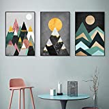 Abstract Sunrise Geometry Picture Artworks Abstract Canvas Wall Art 3 Piece Painting Modern Art for Bedroom Living Room Decoración de la pared Sin marco 60 * 80cm*3