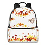 Rucksack Freizeit Damen Herren, Orange Leaf Autumn Leaf Borders Campus Kinderrucksack, Daypack Schulrucksack Sportrucksack Tablet Tasche 15,6 Zoll