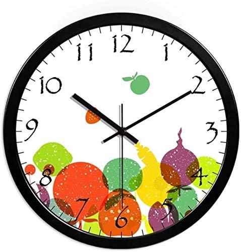 Orologio PLH Orologio da parete Kindergarten negozio di frutta di verdure negozio bambino in camera Balcone aula circolare Orologio da parete 25-35 cm decorare (a colori, NERO, Size, 25 * 25cm) orolog